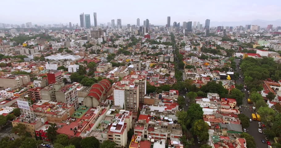 Aerial view of Mexico City and Reforma Skyline