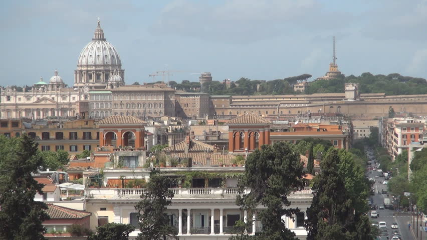 ITALY, ROME, 08 AUGUST, 2015: Rome Cityscape Vatican Christianity Emblem Urban View Buildings Street Traffic | Shutterstock HD Video #11601866