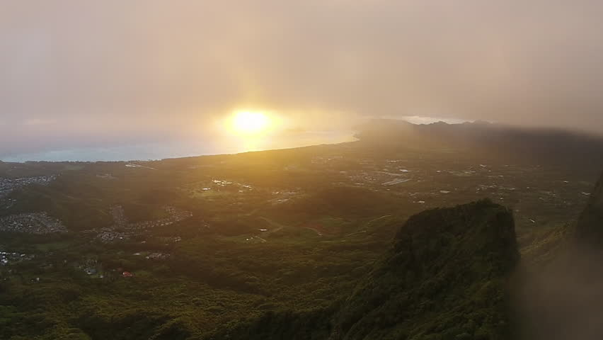 Hawaii paradise aerial with mountains. Aerial sunset at Mount Olomana in Kailua, Hawaii. Tropical paradise 1080p HD. | Shutterstock HD Video #11609396