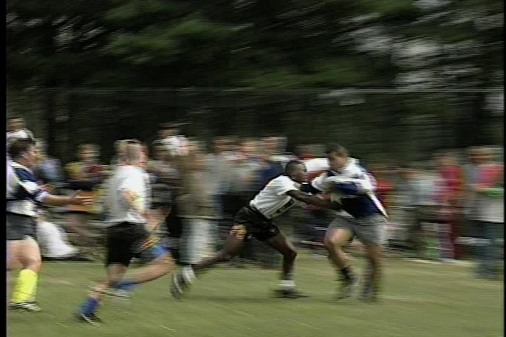 Men compete in a Rugby Match