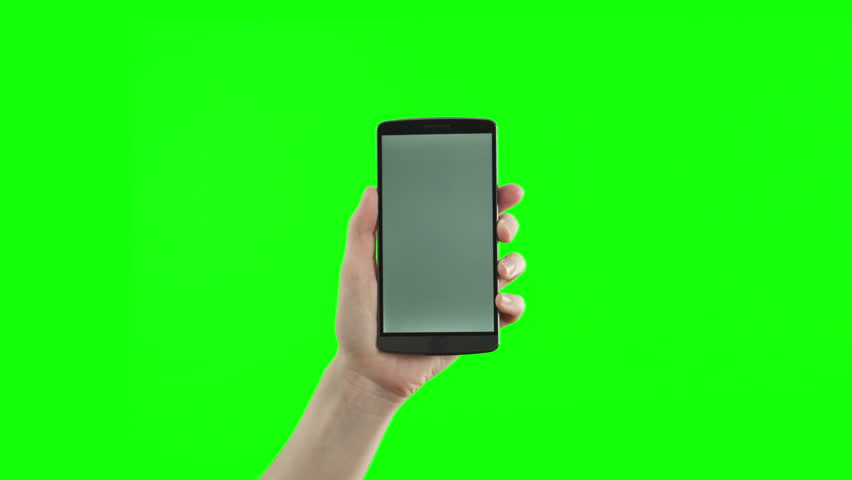 Female hand holding the new smartphone on green screen. The newest phone model. You can track it easily putting the trackers on the screen corners.  | Shutterstock HD Video #11612696
