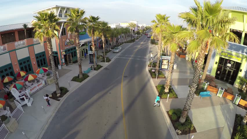 Flying And Ascending In The Middle Of Panama City Beach Downtown