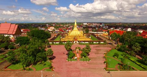 Aerial view of  Wat Phra That Luang  , Vientiane, Lao PDR