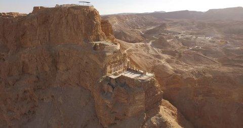 Soaring aerial 4K view MASADA, ISRAEL.