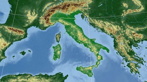 Calabria region extruded on the physical map of Italy. Rivers and lakes shapes added. Colored elevation data used. Elements of this image furnished by NASA.