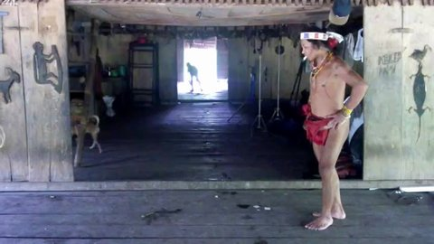 West Sumatera, Indonesia-June 15,2014:Dance performance and mentawai song  by Teo Tak Gogo, 55, The indigenous inhabitants ethnic of the island in Muara Siberut, also known as the Mentawai people.