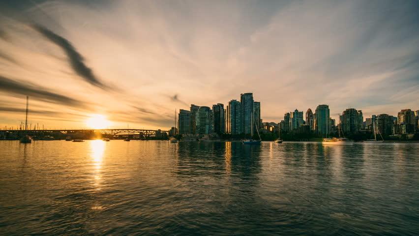 4K Timelapse of Vancouver Skyline at sunset.
