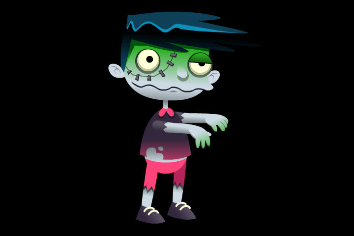 Animation Of Walking Funny Zombie Transparent Background