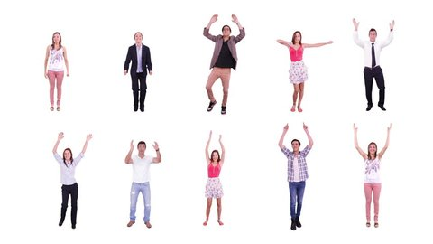 10 young and handsome people celebrating, clapping and cheering. White background. Full length. Alpha matte.