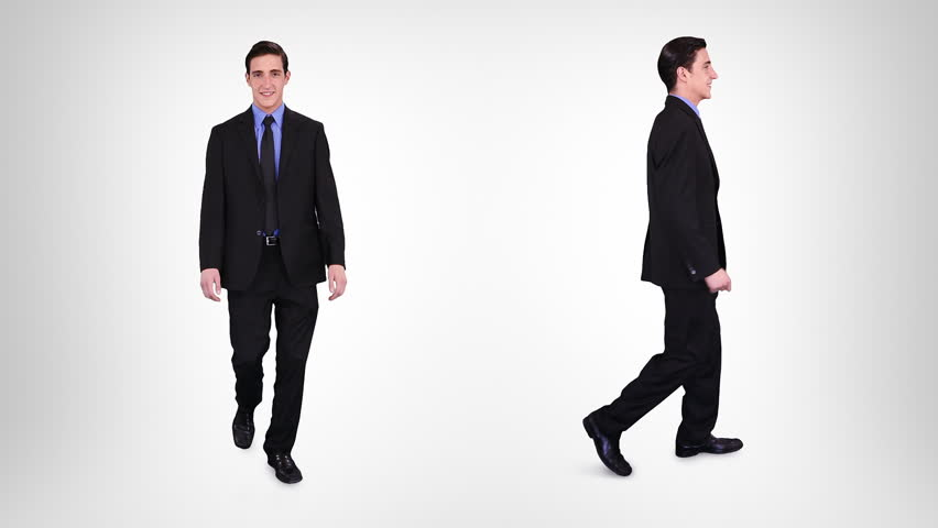 Young businessman walking over white background with alpha matte. 2 in 1. Lateral and frontal view. More options in my portfolio.