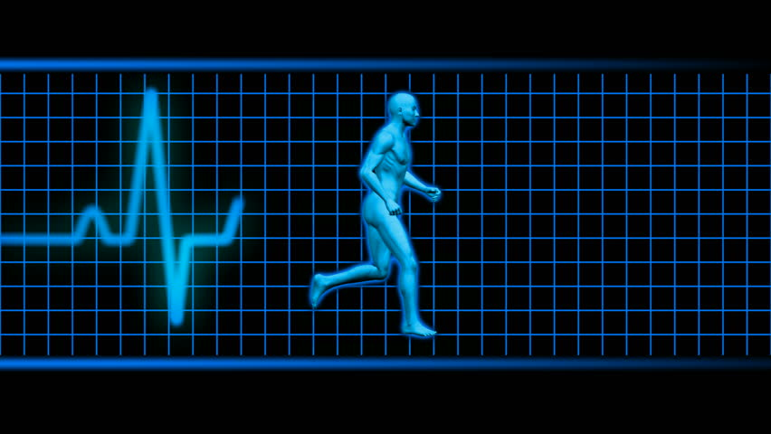 man running with ekg in background blue HD looping 1080i