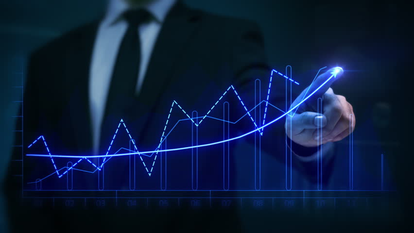 Businessman drawing an ascending financial chart. Touchscreen. 2 colors in 1. Blue and white. Businessman drawing a bright arrow showing increasing profits in a financial chart. Business success.