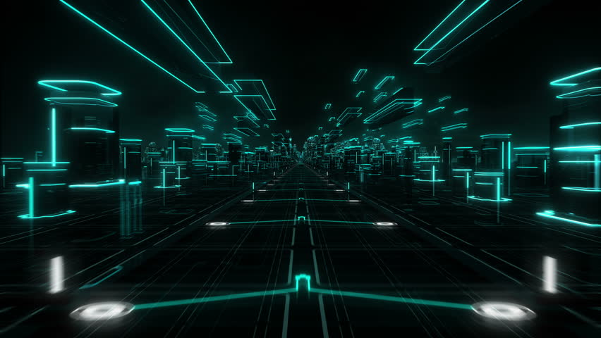 Futuristic abstract background. Cyan. Loopable. Technology. Hologram. Flying over a magic world.