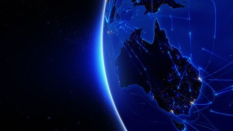 World connections. Australia. Aerial, maritime, ground routes and country borders. Animation of the Earth with bright connections and city lights. 2 shots in 1 file. Blue. Images: http://www.nasa.gov.