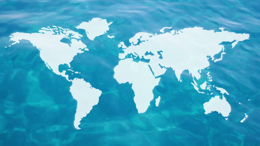 Technology blue world map background 4k stock footage video animation combined with video of clear water and world map gumiabroncs Images