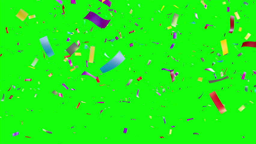 Multicolored Confetti falling over green screen. Holiday or party background. More options in my portfolio. - 4K stock video clip