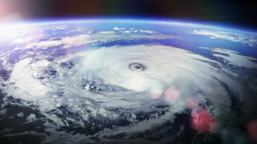 Hurricane. With flares. 2 videos in 1 file. Huge hurricane seen from space with flares. Earth map based on images courtesy of: NASA http://www.nasa.gov.