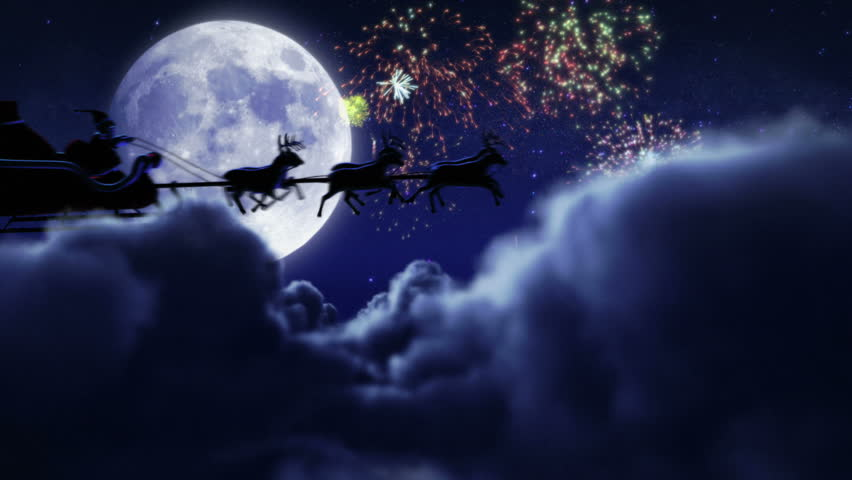 Santa flying with fireworks over full moon. 2 videos in 1 file. Santa Claus and his reindeers flying in the sky with fireworks.