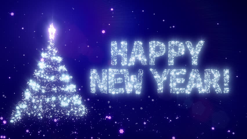 happy new year christmas background with bright snow blue background with the words happy new year in different languages english version