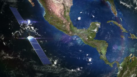 Central America. Highly detailed telecommunication satellite orbiting the Earth. Satellite and Earth models based on images courtesy of: NASA http://www.nasa.gov. 3 videos in 1 file.
