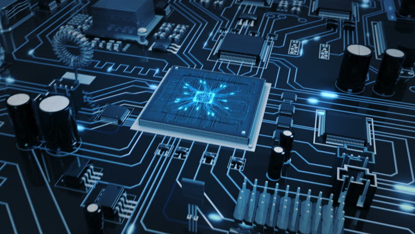 Flying over a futuristic circuit board with moving electrons ending on the CPU. Transparent blue. Technology background. This video is loopable from frame 588 to 851. More options in my portfolio. | Shutterstock Video #11748722