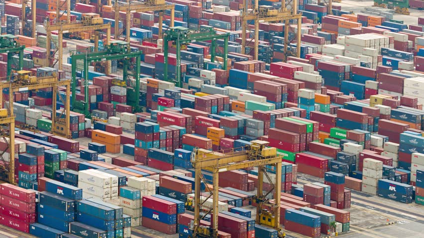 SINGAPORE - CIRCA JAN 2015: Abstract of container yard operations in timelapse. at a seaport in Singapore. | Shutterstock HD Video #11778446