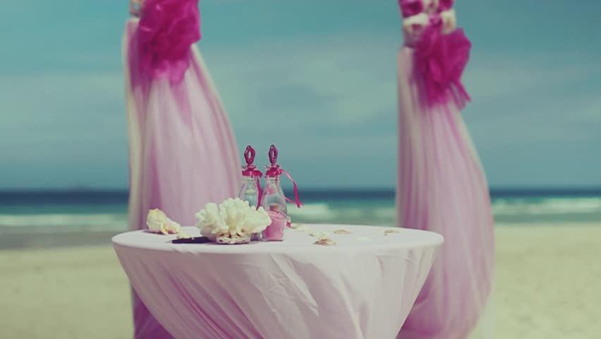 Beautiful wedding setup on tropical beach background stock footage wedding decor near the sea hd stock video clip junglespirit Gallery