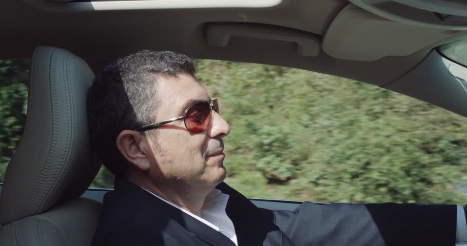 Bon Portrait Of A Middle Aged Caucasian Male Driving His Car On Country Road  Stock Footage Video 11786306 | Shutterstock