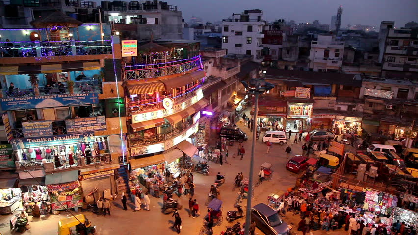 New Delhi, India - November 15 Night View Of Main Bazar -8606