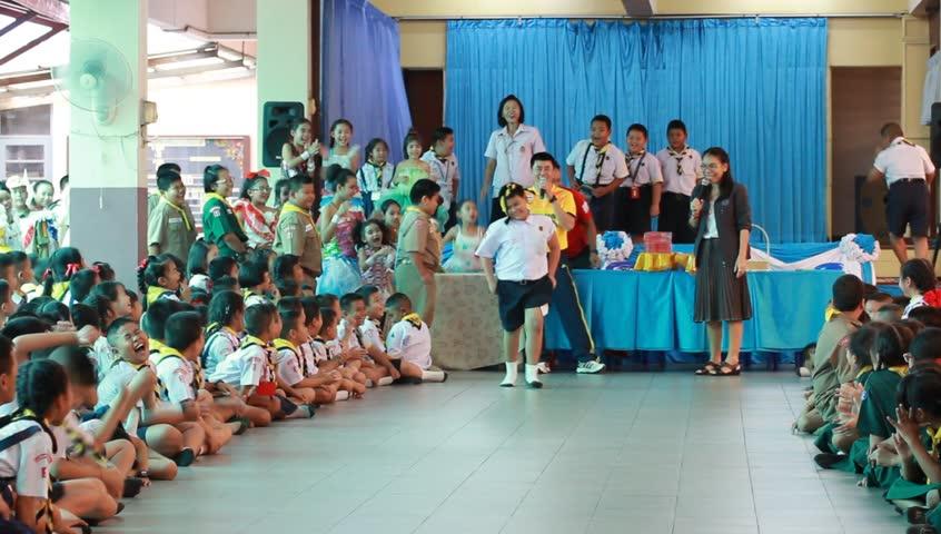 Asian Thai Schoolgirl Student In High School Uniform Is -1799