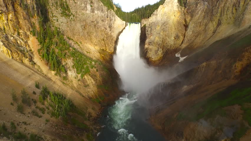 Aerial video in Yellow Stone National Park, Wyoming.