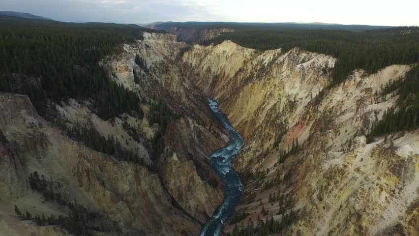 Aerial video of Yellowstone National Park. Wyoming.