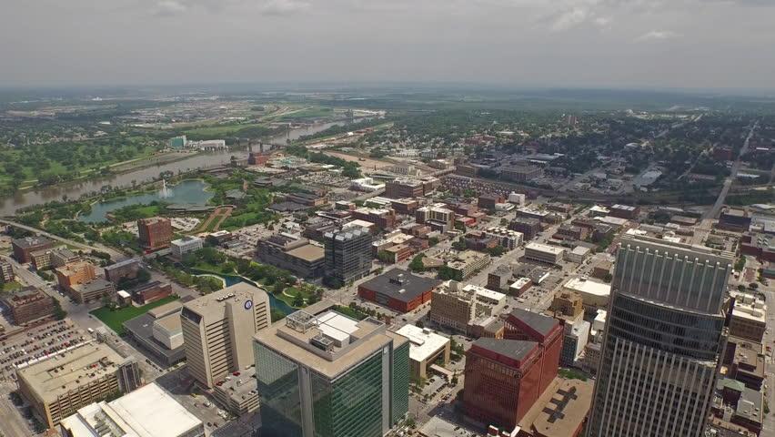 Aerial video of Omaha, Nebraska.