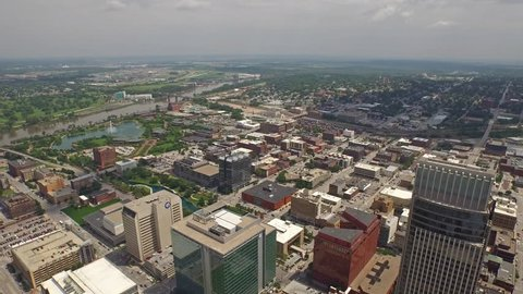 Aerial video of Omaha, Nebraska.