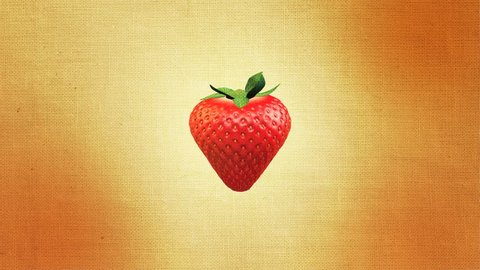 Strawberry Vintage Fruit on orange background with Retro Filter and Paper Texture rotating with stop motion cartoon effect animation from **Vintage Fruits Collection**.