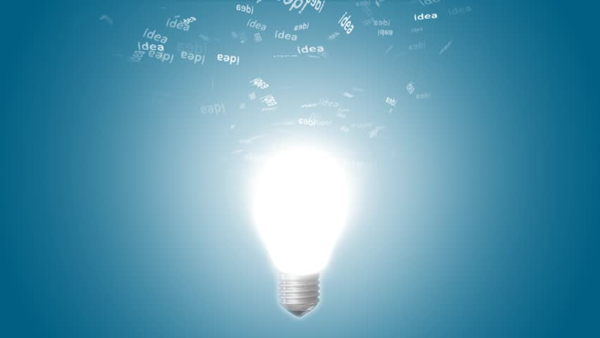 Glowing Light Bulb With Departing Marks Ideas. Creative Idea In Bulb Shape  As Inspiration Concept