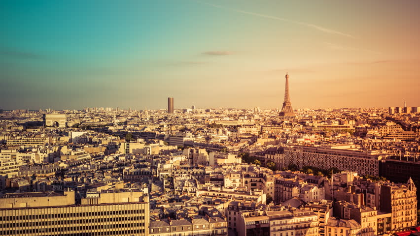 Aerial view of the City of Paris with the Eiffel Tower and Arch de Triomphe , light leak effect | Shutterstock HD Video #11912126