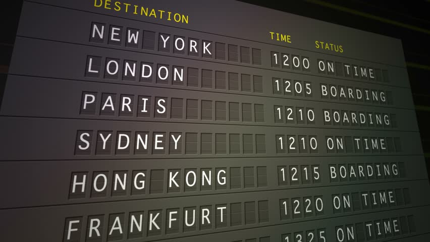 Flight departure board HD, 1080 30p