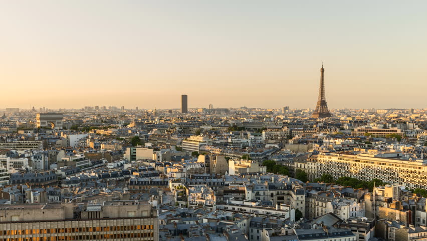 Sunrise in Paris with the Eiffel Tower and Arch de Triomphe high angle, Time Lapse