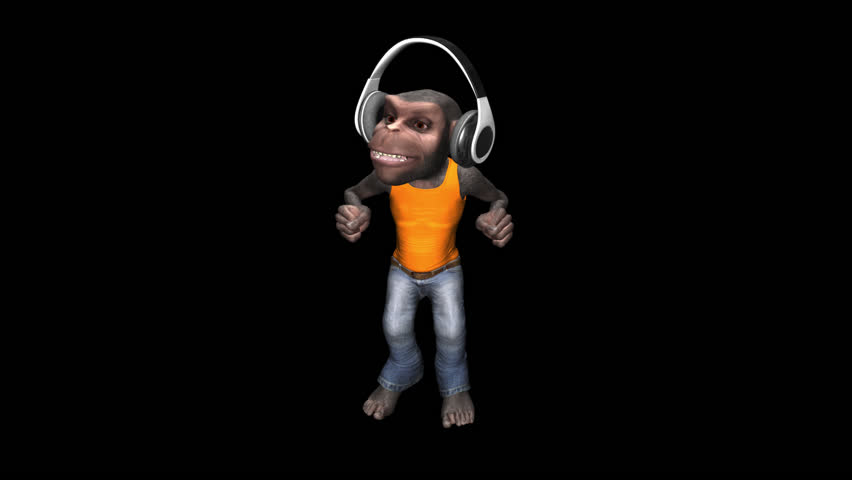 Monkey Dancing in Headphones - Chimp - Male - Alpha Channel - VJ Loop