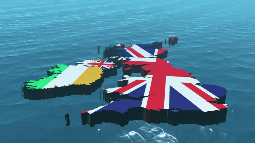 3D HD United Kingdom Map Rotating on the Sea