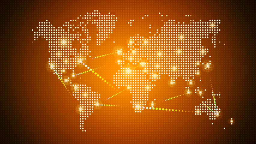 Animation of flicker and slow motion particles in digital world map world map with spot lights hd stock footage clip gumiabroncs Image collections