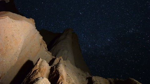 Astrophotography Time-lapse footage with tilt up motion of starry sky over eroded sandstone canyon walls at Red Rock Canyon State Park in Mojave Desert, California -Vertical Shot-
