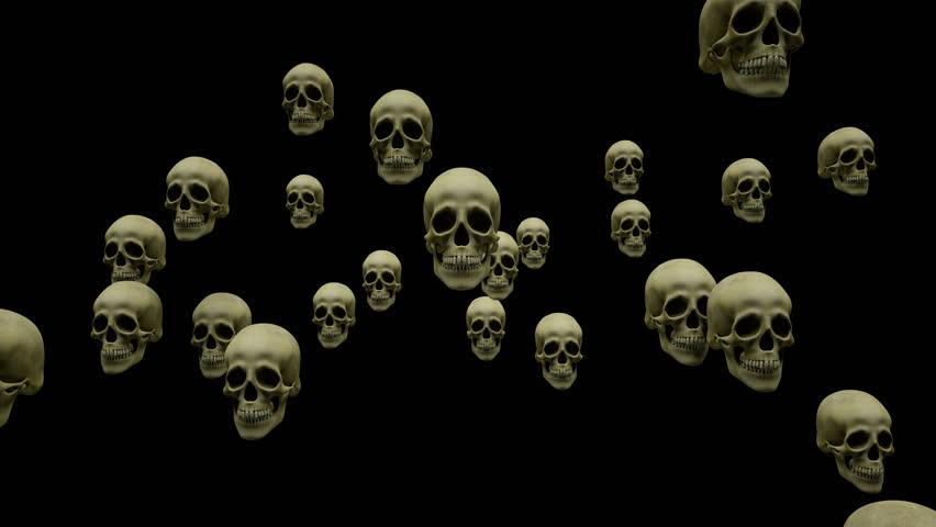 Flying skulls + alpha layer | Shutterstock HD Video #11967026