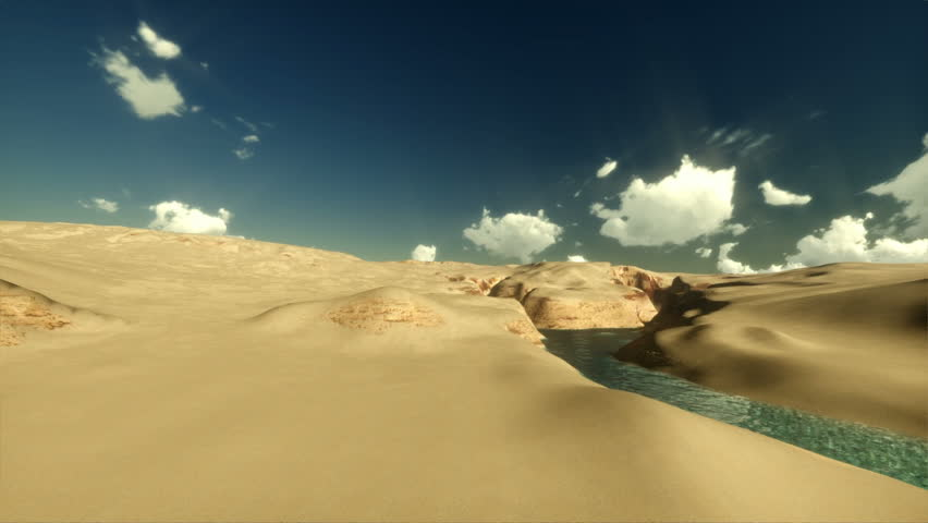 Camera fly over sands and river, time lapse