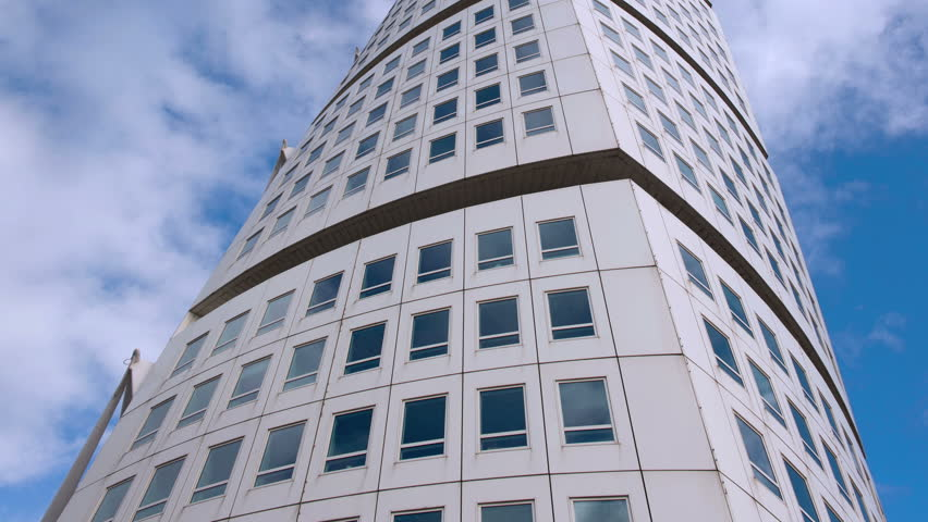 Modern Architecture Videos malmo,sweden - sept 2015 - clouds move through blue sky over the