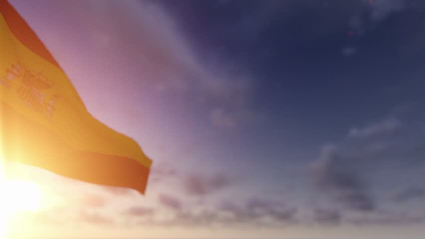 Spain Flag against Time Lapse Clouds, Luma Matte included
