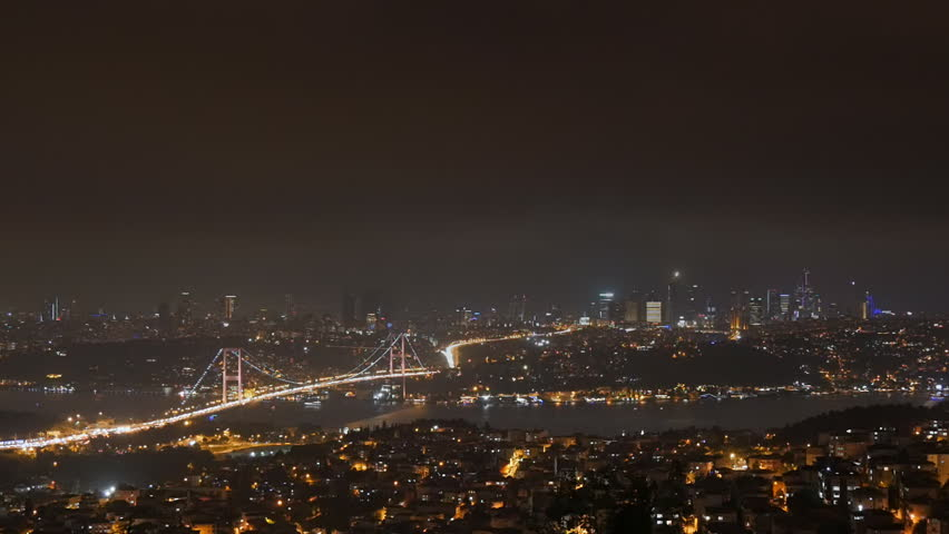 Panoramic view of istanbul skyline cityscape at night financial center in the background | Shutterstock HD Video #12019406