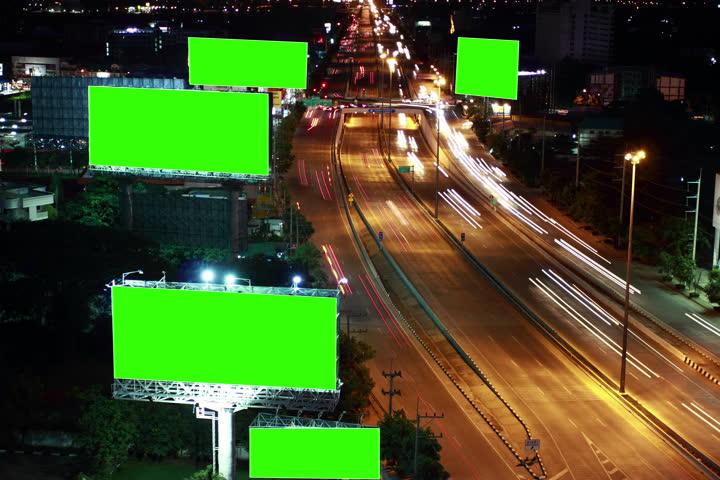 Timelapse super highway with green screen billboard  | Shutterstock HD Video #12029546