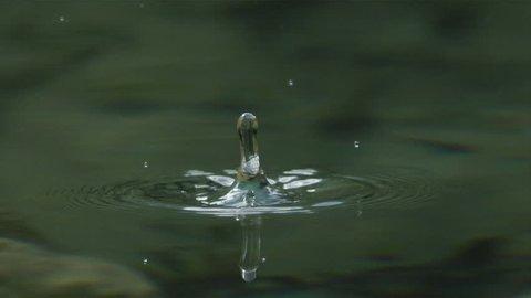 SLOW MOTION MACRO: Water drop falling into the lake splashing around